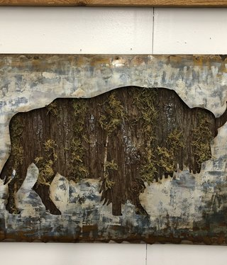 Simpkins-Canterbury Lane Buffalo with Moss Wall Decor