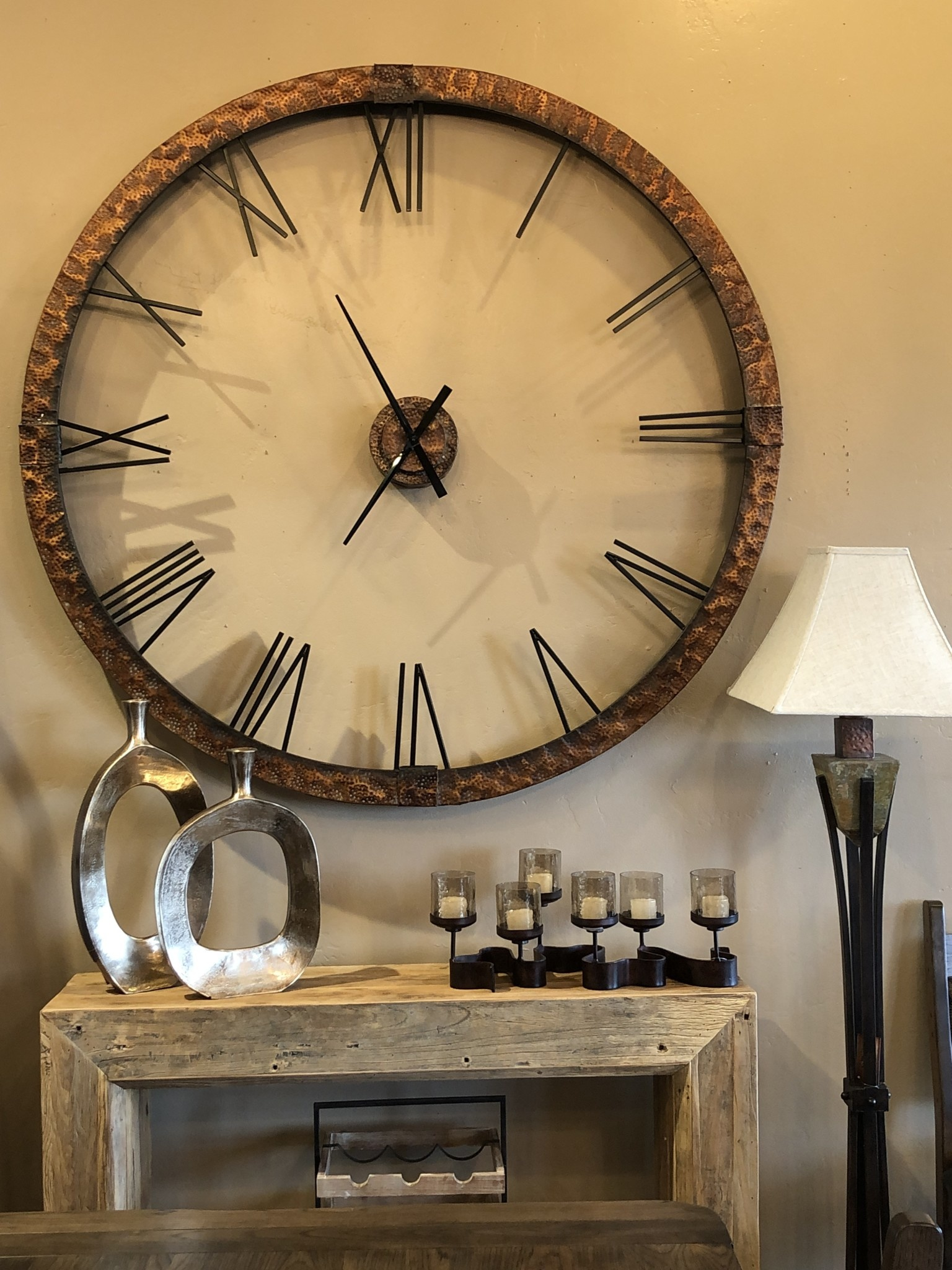 Uttermost Amarion Wall Clock in Hammered Copper