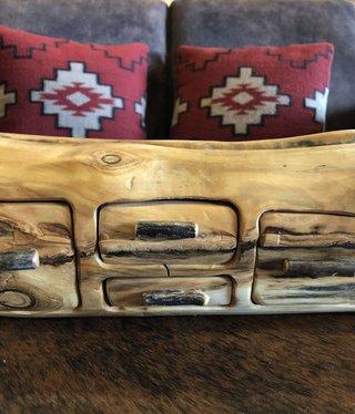 Rustic log 4 Drawer Jewelry Box W/Hidden Drawer