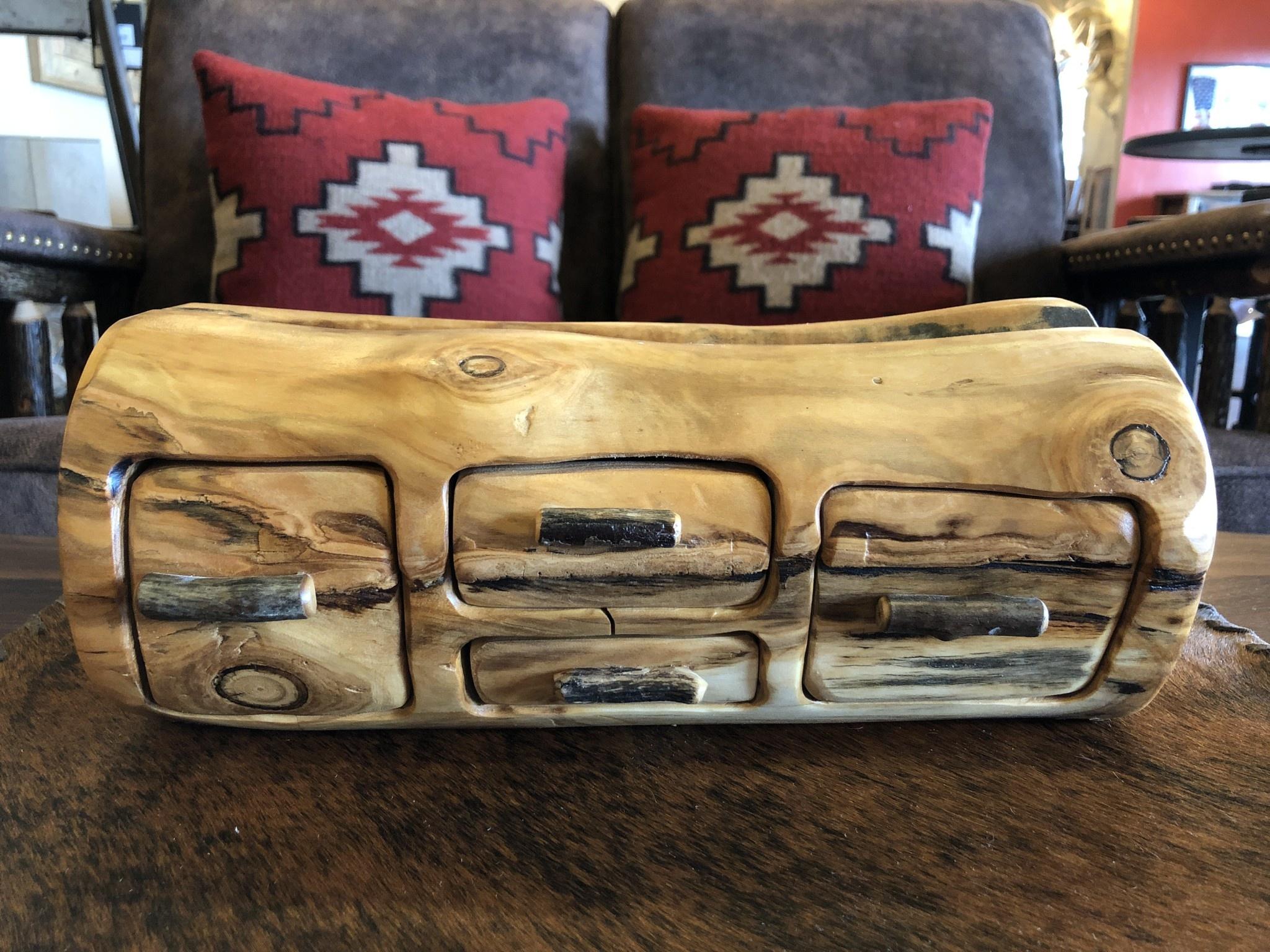 Rustic log 4 Drawer Jewelry Box W/Hidden Drawer