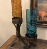 Artisans Rustic Iron Base W/Spider Web Glass