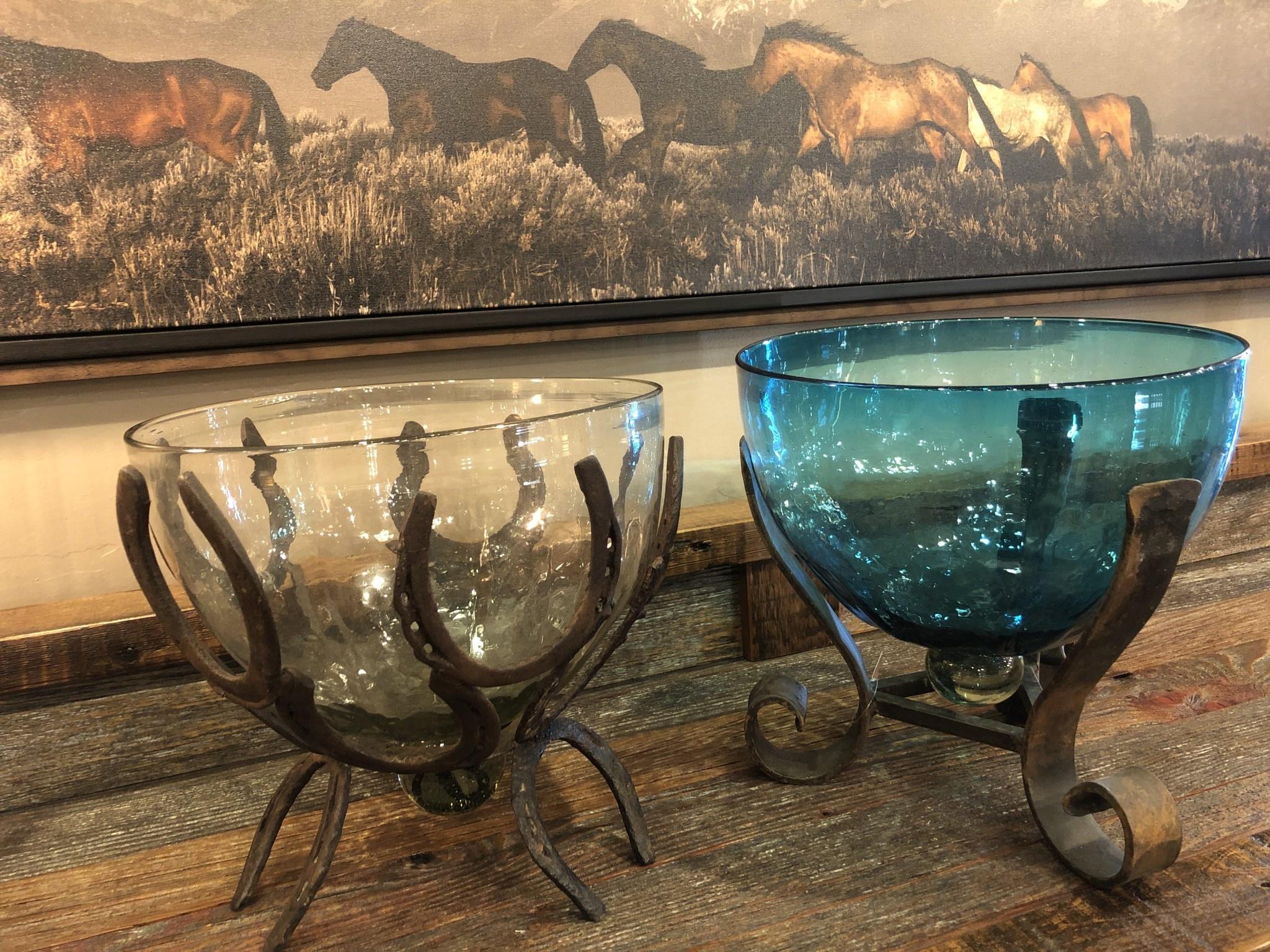 Artisans Glass Bowl W/Iron Base