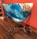 Artisans Painted Glass Bowl W/Iron Base