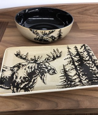 Unison Gifts Moose Rectangular Plate 13x8.5