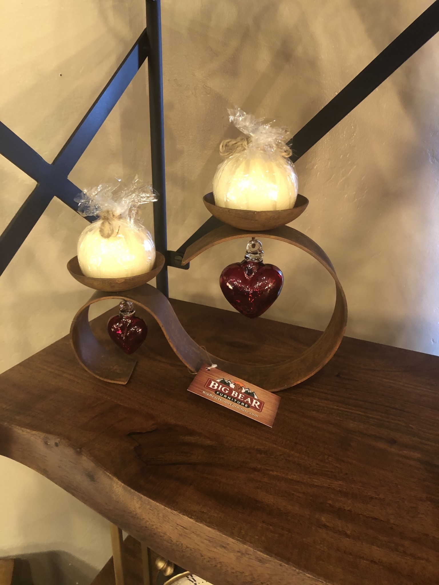 Artisans Double Cross Table Candle Holder Red