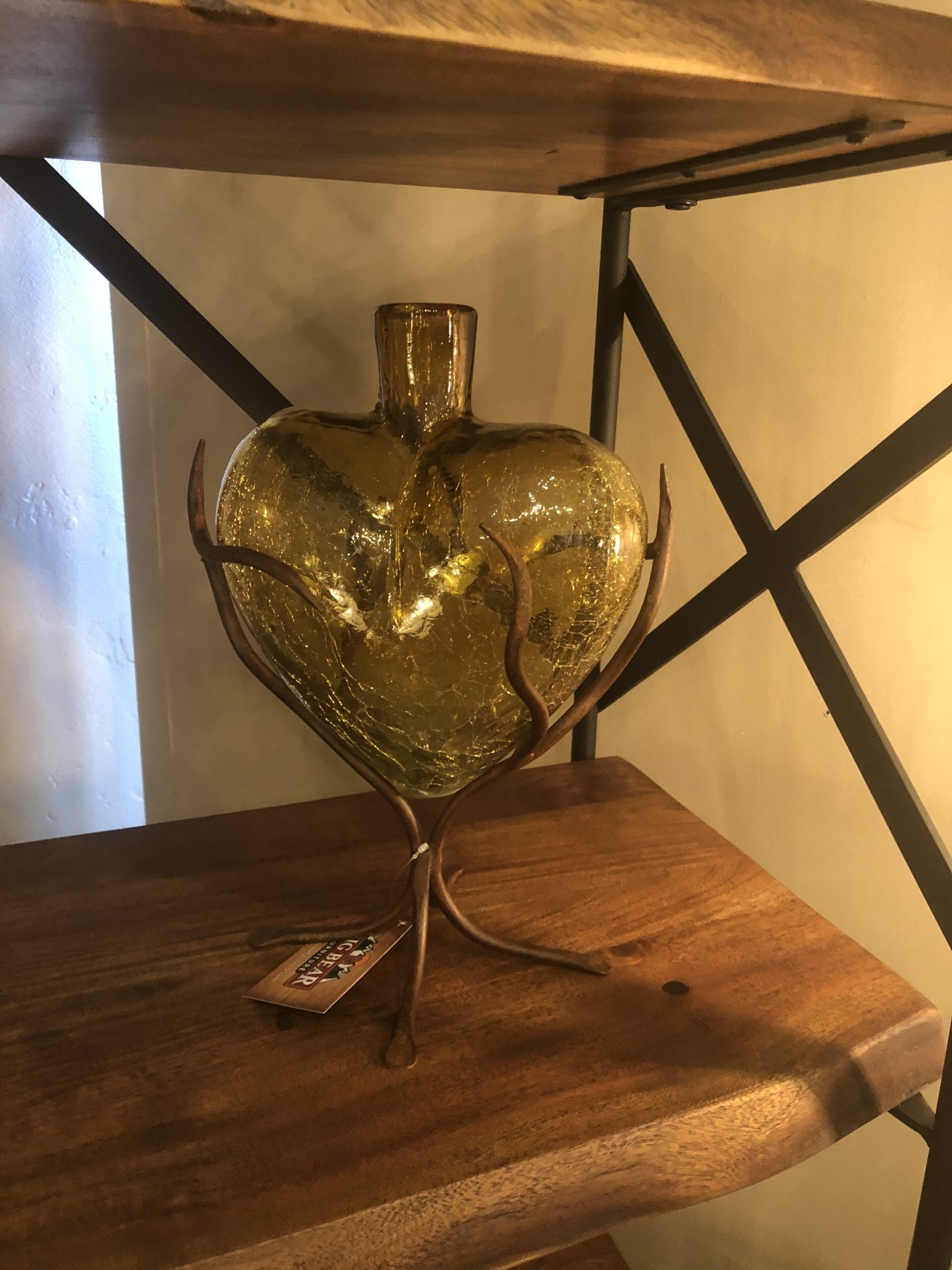 Artisans Glass Heart on Iron Base
