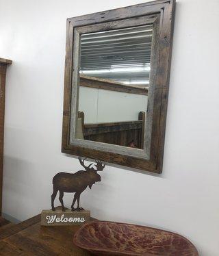 "Rustic North Distressed Alder Mirror   24.75""x24.75"""