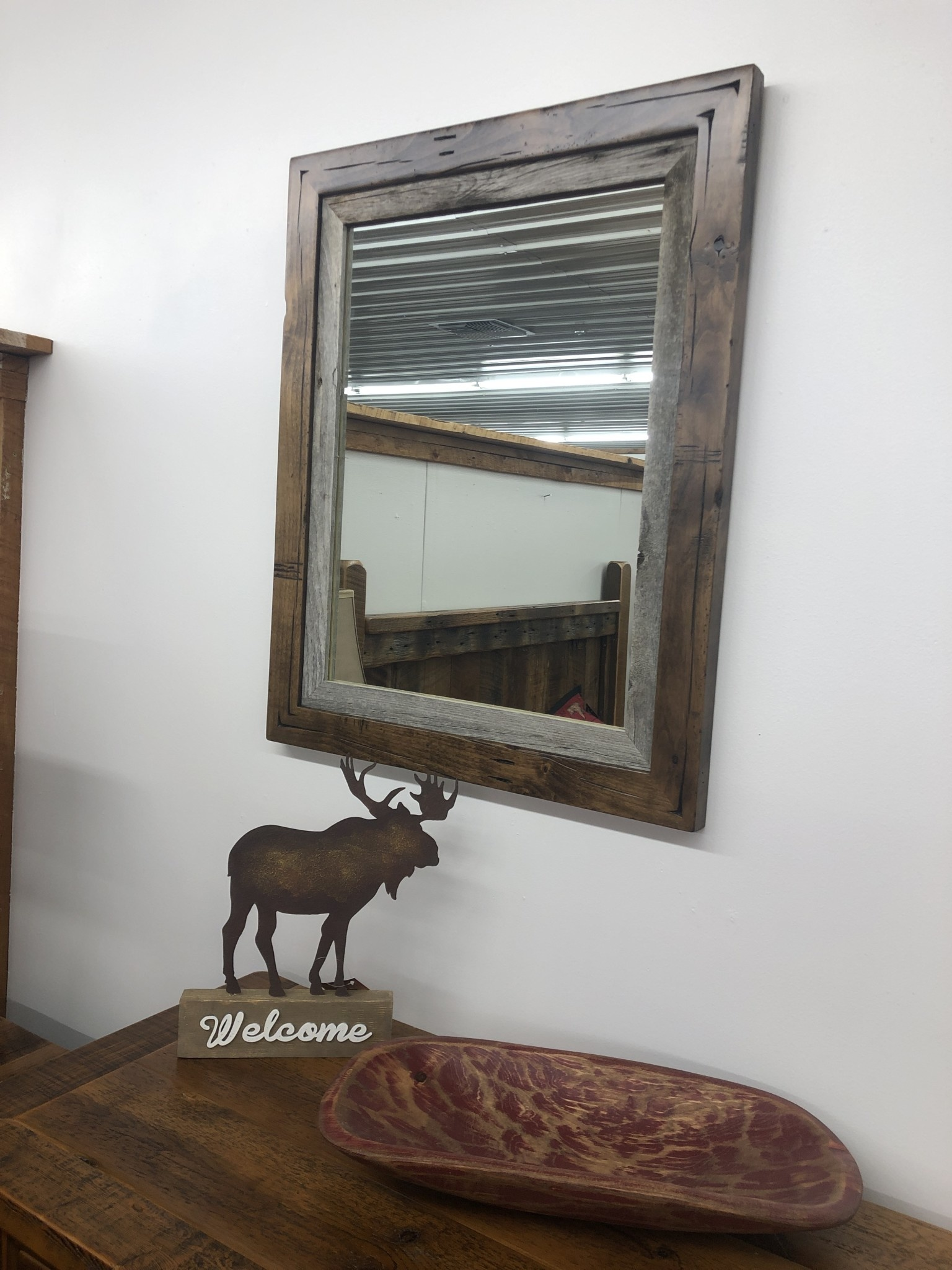 "Rustic North Distressed Alder Mirror   24.75""x24.75"""