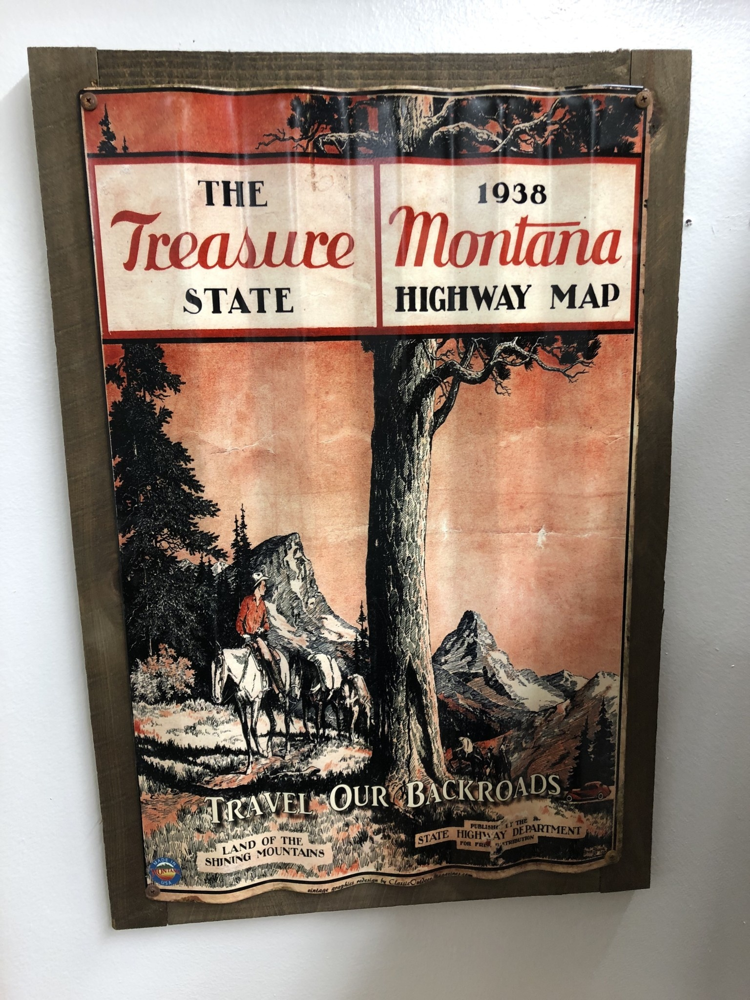 Classic Outdoor Magazines #5  1938 Montana Map  Corrugated 17x26