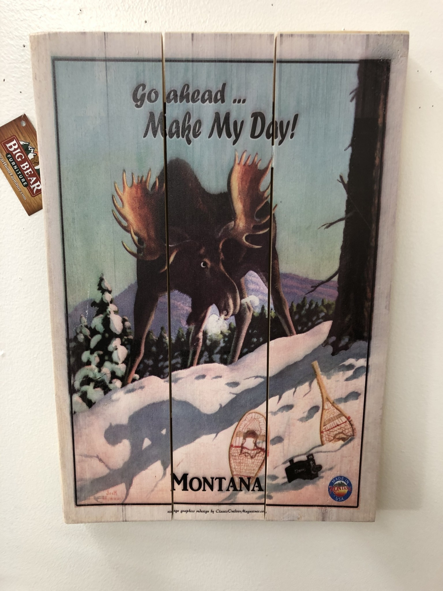 Classic Outdoor Magazines #19  Make My Day Moose 14x20 wood sign