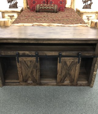 Co-ALBC Hickory Barn Door TV Cabinet