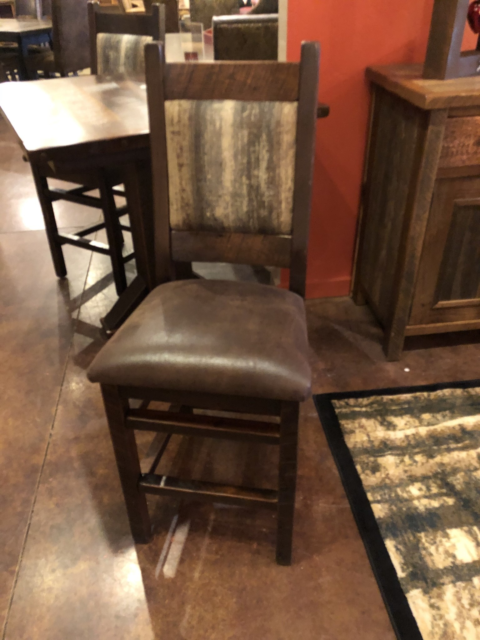 Co-ALBC Upholstered Barn Wood Barstool
