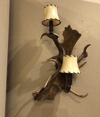 Fish Fallow Deer 2 Light W/Shades Sconce