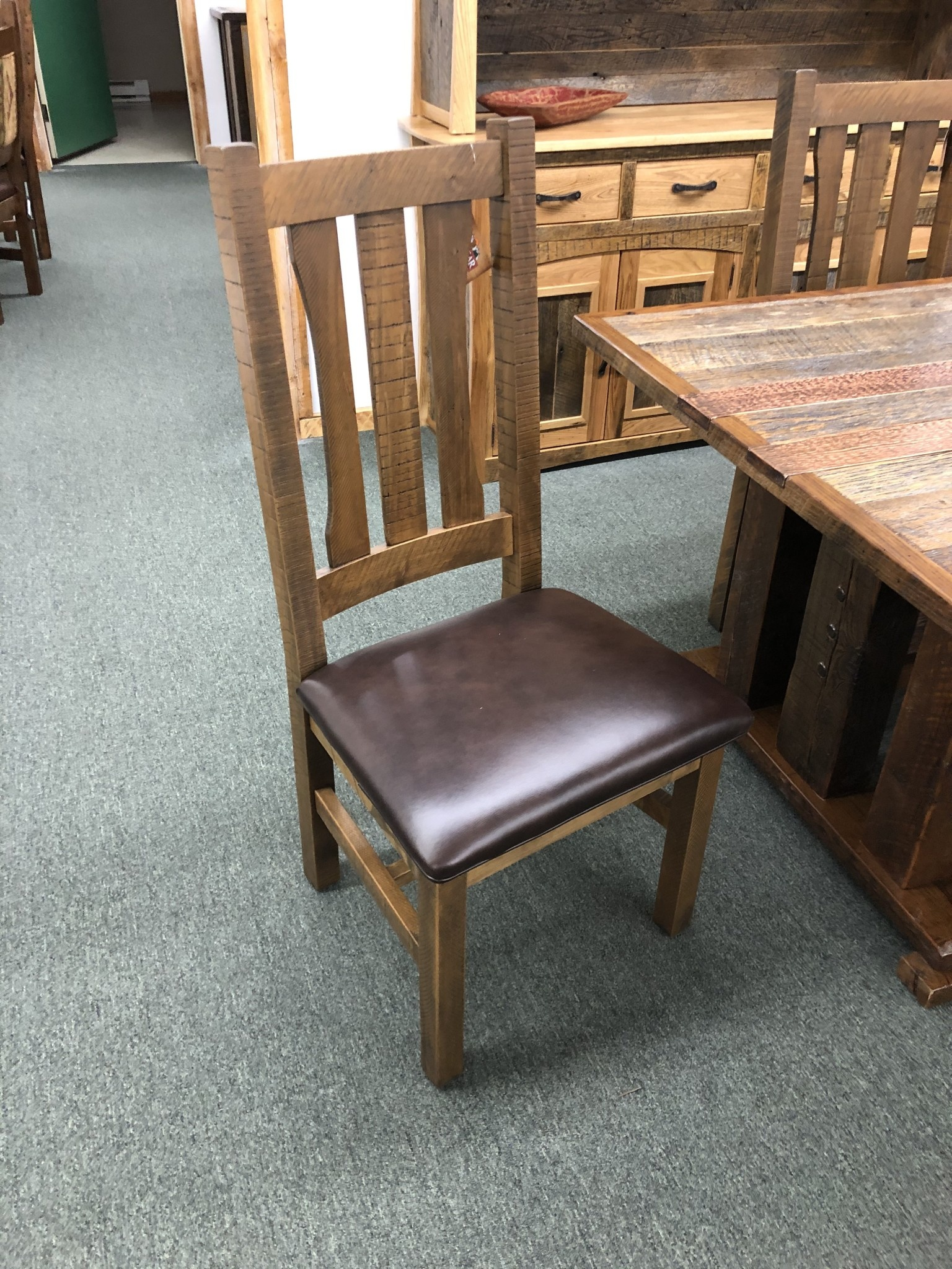 Green Gables Old Forge Arm Slat Side Chair w/leather Seat