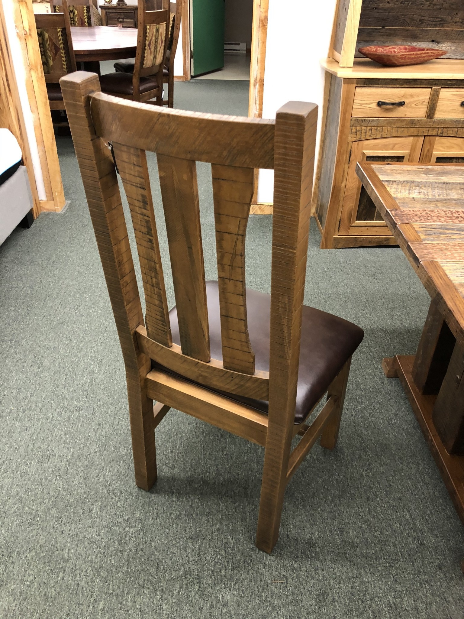 Green Gables Old Forge Side Chair w/leather Seat