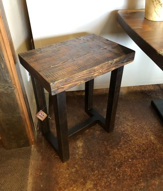 Juliann Iron Originals Reclaimed Wood and Metal Side Table