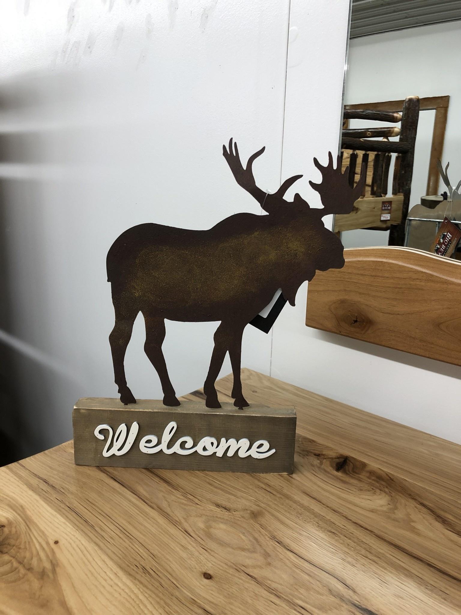 Simpkins-Canterbury Lane Welcome Sign on Base - Moose