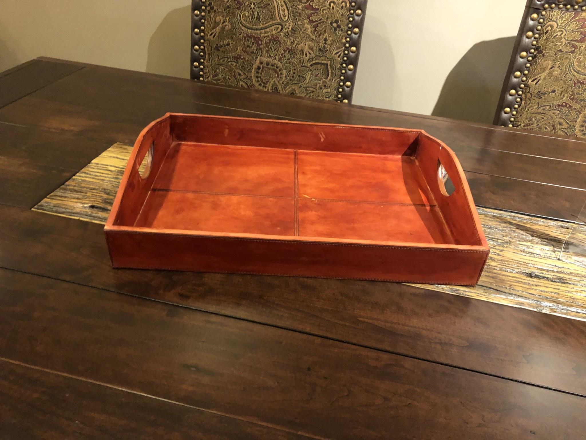 """Uma Wood & Leather Tray, Large, 20"""""""