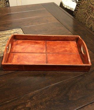 """Uma Wood & Leather Tray, Medium - 18"""""""