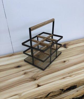 "Uma Wood & Metal Wine Rack, 12""w x 17""h"