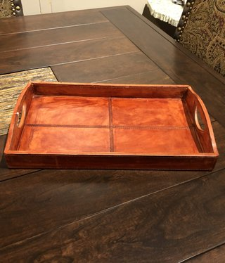 "Uma Wood Leather Tray, Small - 16"""