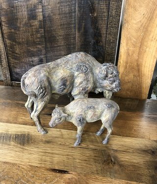 Simpkins-Canterbury Lane Faux Carved Wood Cow & Calf - 2 pieces