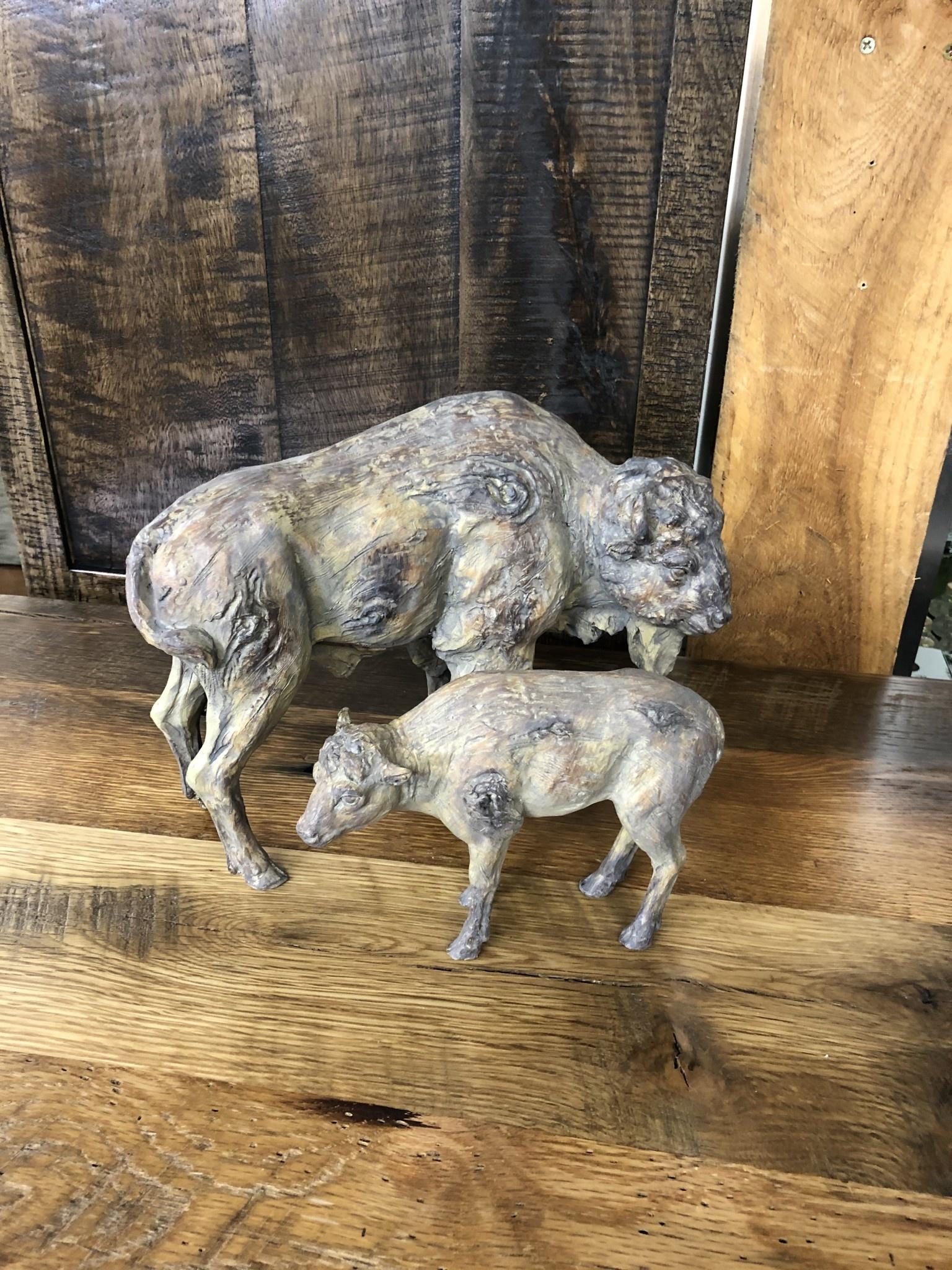 Simpkins-Canterbury Lane Faux Carved Wood Buffalo Cow & Calf - 2 pieces