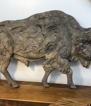 Simpkins-Canterbury Lane Faux Carved Wood Running Large Wall Buffalo