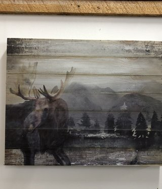 Simpkins-Canterbury Lane Wood Planks Wall Decor - Moose