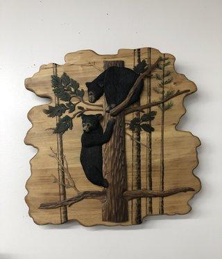 """Dalin Enterprises Bear Cubs in Tree 24""""x24"""""""