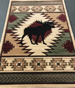 United Weavers Cottage Beige Moose in Center 5'3x7'6