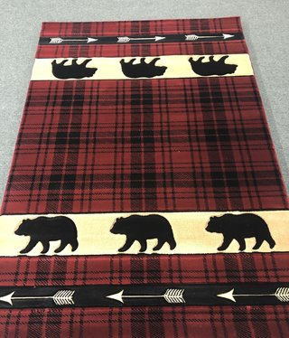 United Weavers Cottage Burgundy/Bear/Arrows/Check 5'3x7'6