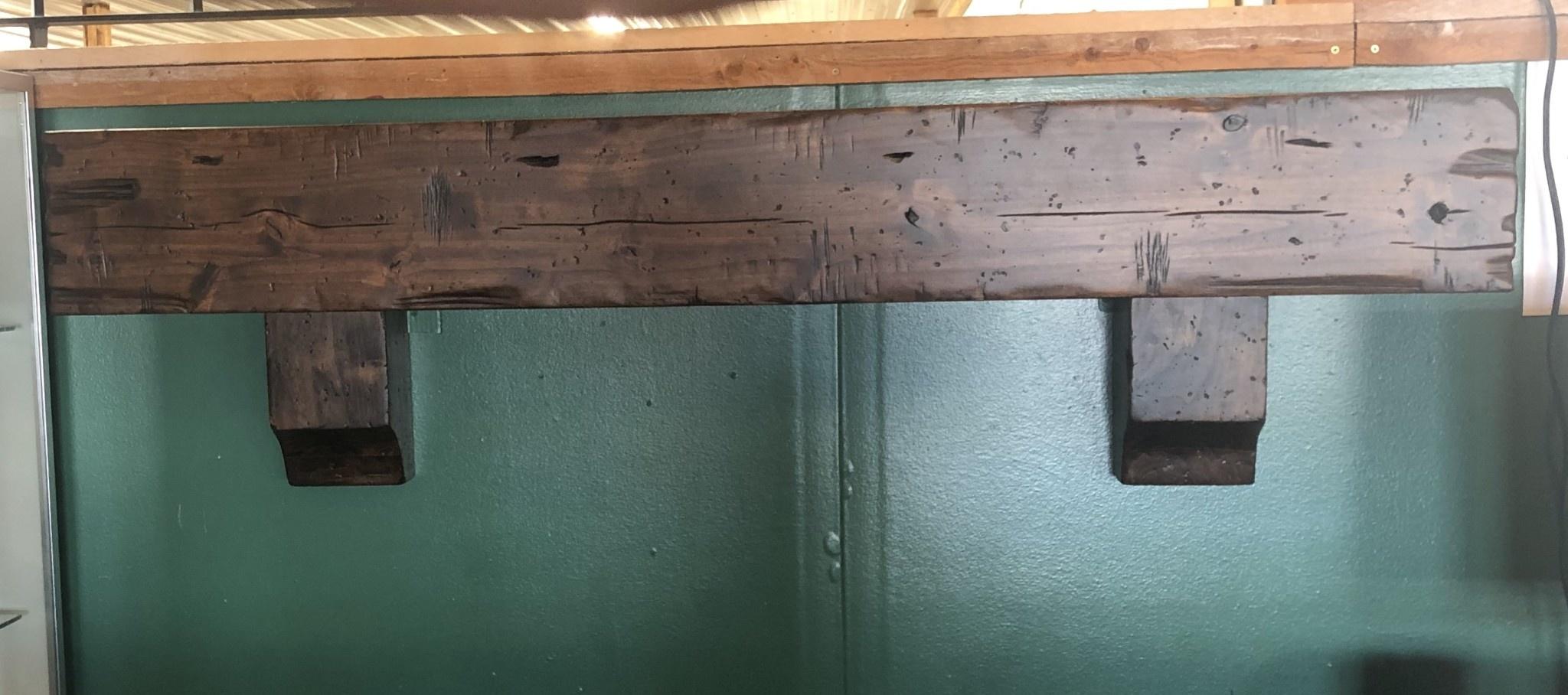 Rustic North Alder Box Mantle w/corbels  60W x 10D x 8H