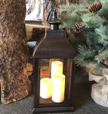 Sullivans Jumbo Candle Lantern w/3 Pillars - Rustic