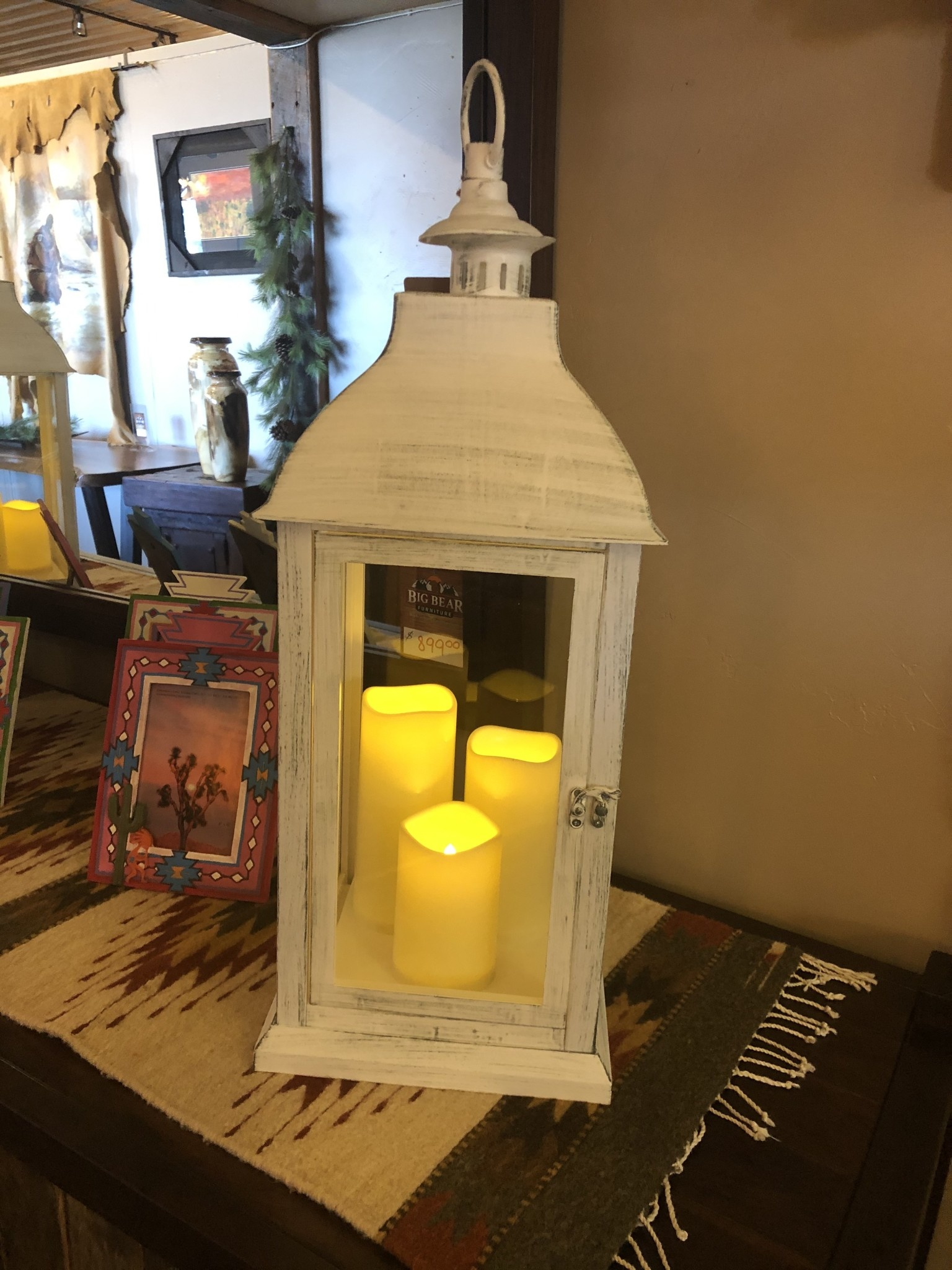 Sullivans Jumbo Candle Lantern w/3 Pillars - White