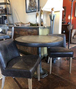 HTD Steampunk Marble & Teak Round Table, 36D x 30