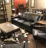 HTD Bogart Ebony Leather Armchair, 30x34.25x29