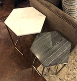 HTD Nesting Marble Top, Hexagon Side Tables 18Dx21, 16Dx19