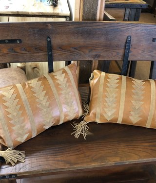Hiend Arrow Design Leather Pillow w/Tassels 16x24