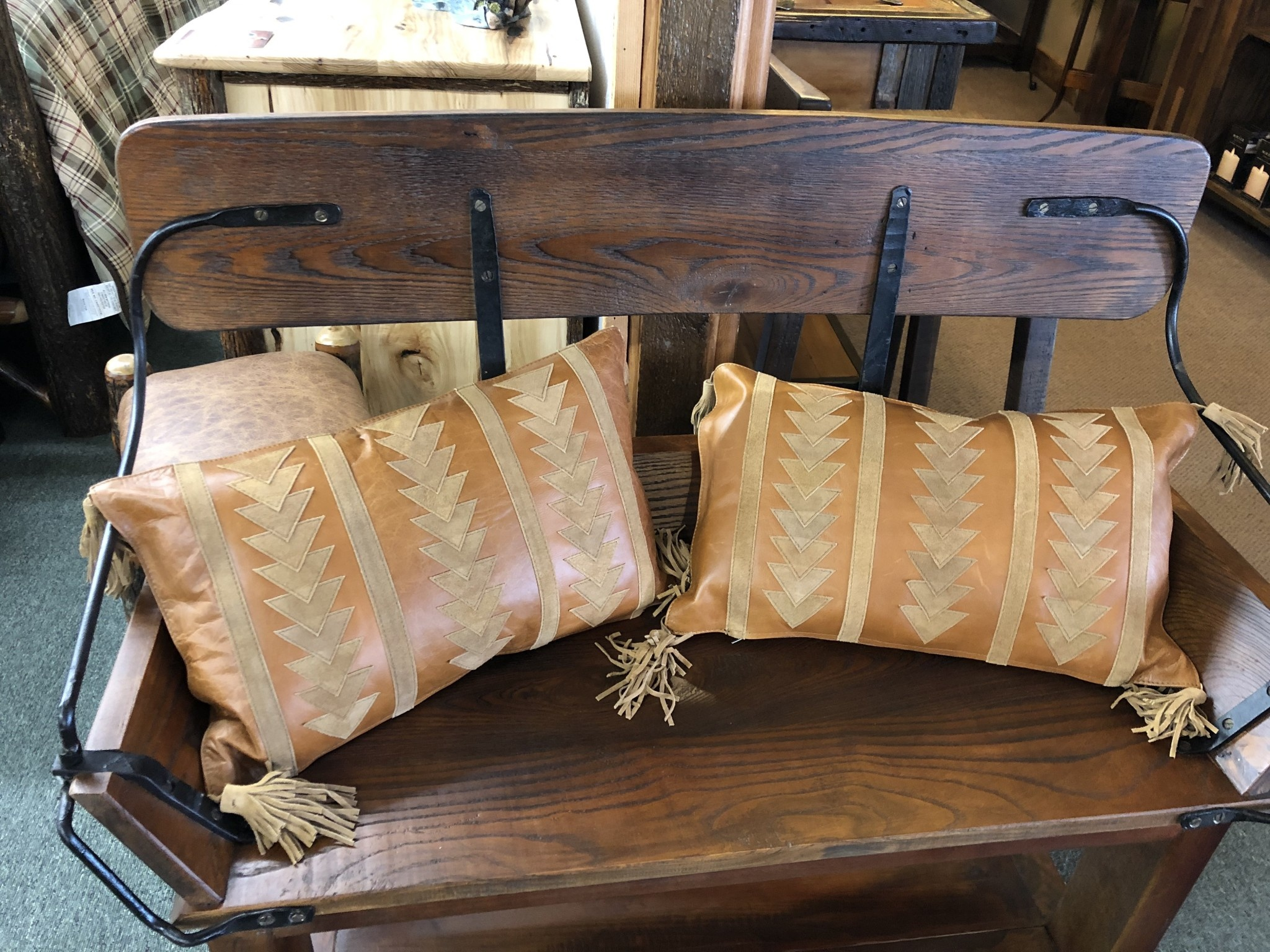 Hiend Arrow Design Leather Pillow w/Tassels 16x24