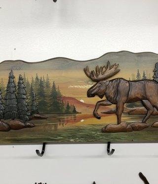 """Dalin Enterprises Walking Moose Coat Rack 30""""x12"""""""