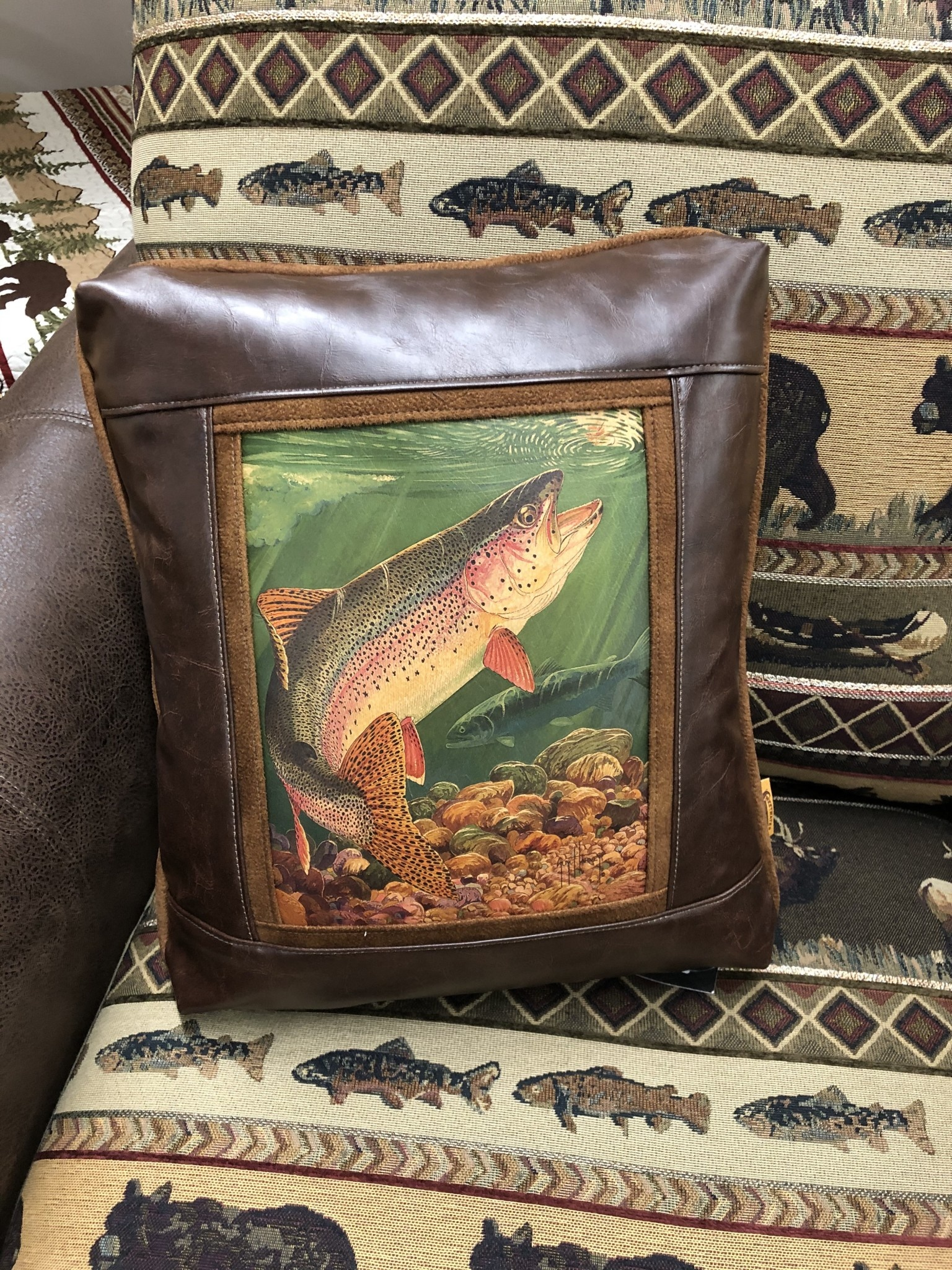 Sweetwater Trading Co Rainbow Trout Pillow