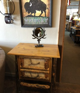 Saxton Art 2 Drawer Cabinet w/cowhide  33L x 32D x 37.5H