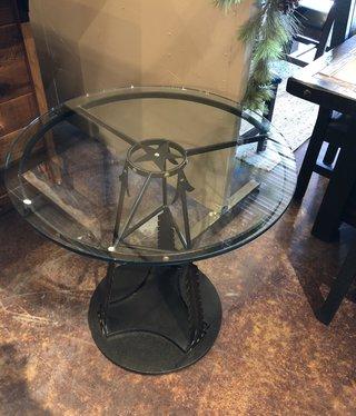 """Saxton Art Glass Top Arrow Table  28""""Dia x 28.5""""H"""