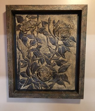 Saxton Art Leather Flower Wall Art  30L x 36H