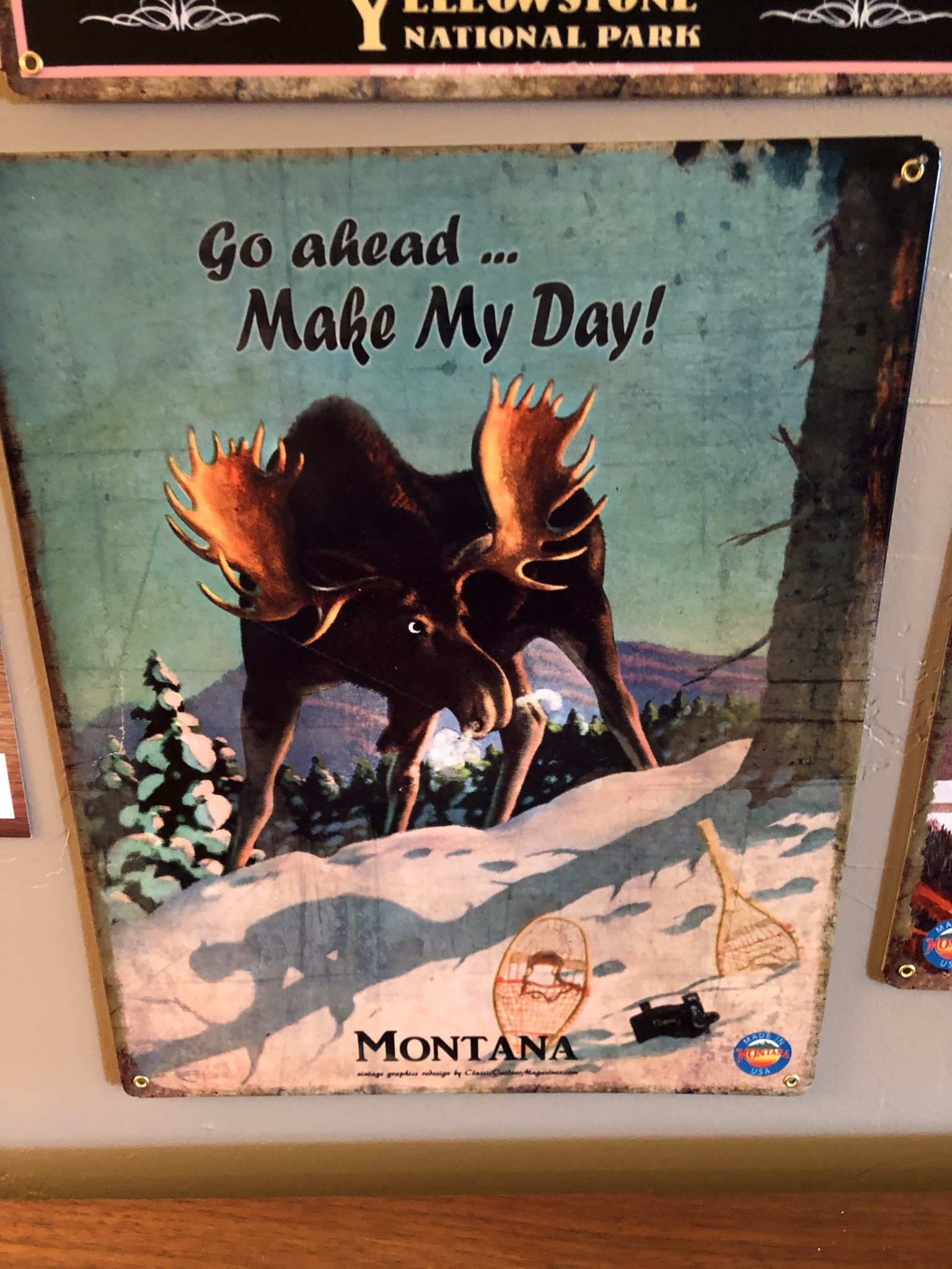 Classic Outdoor Magazines #19 Make My Day Moose 12x15 Metal Sign