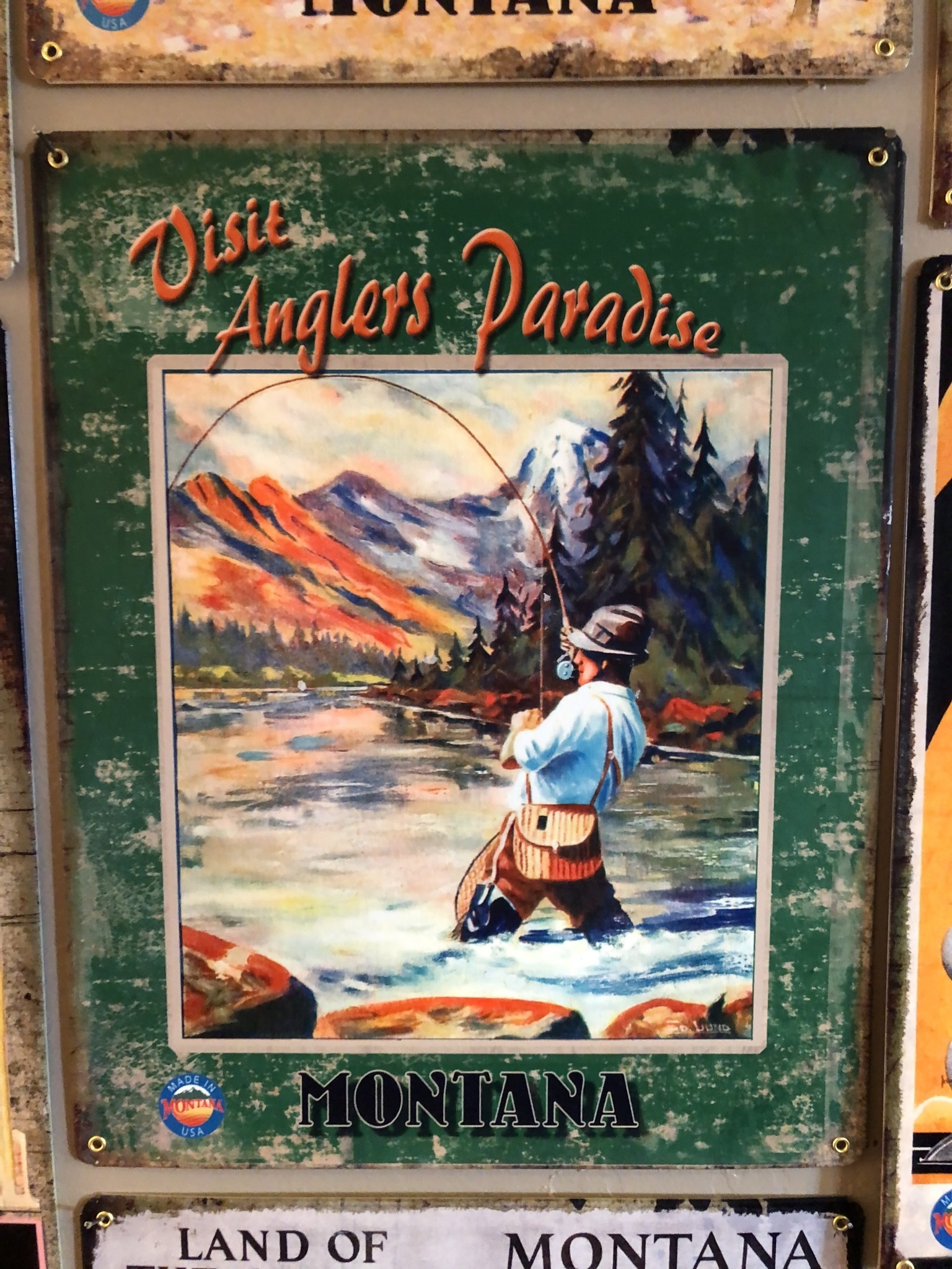 Classic Outdoor Magazines #3  Angler Paradise 12x15 Metal Sign