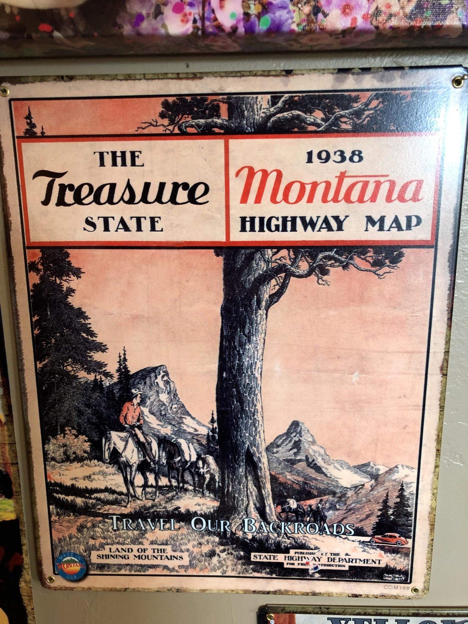 Classic Outdoor Magazines #5 1938 Montana Map 12x15 Metal Sign