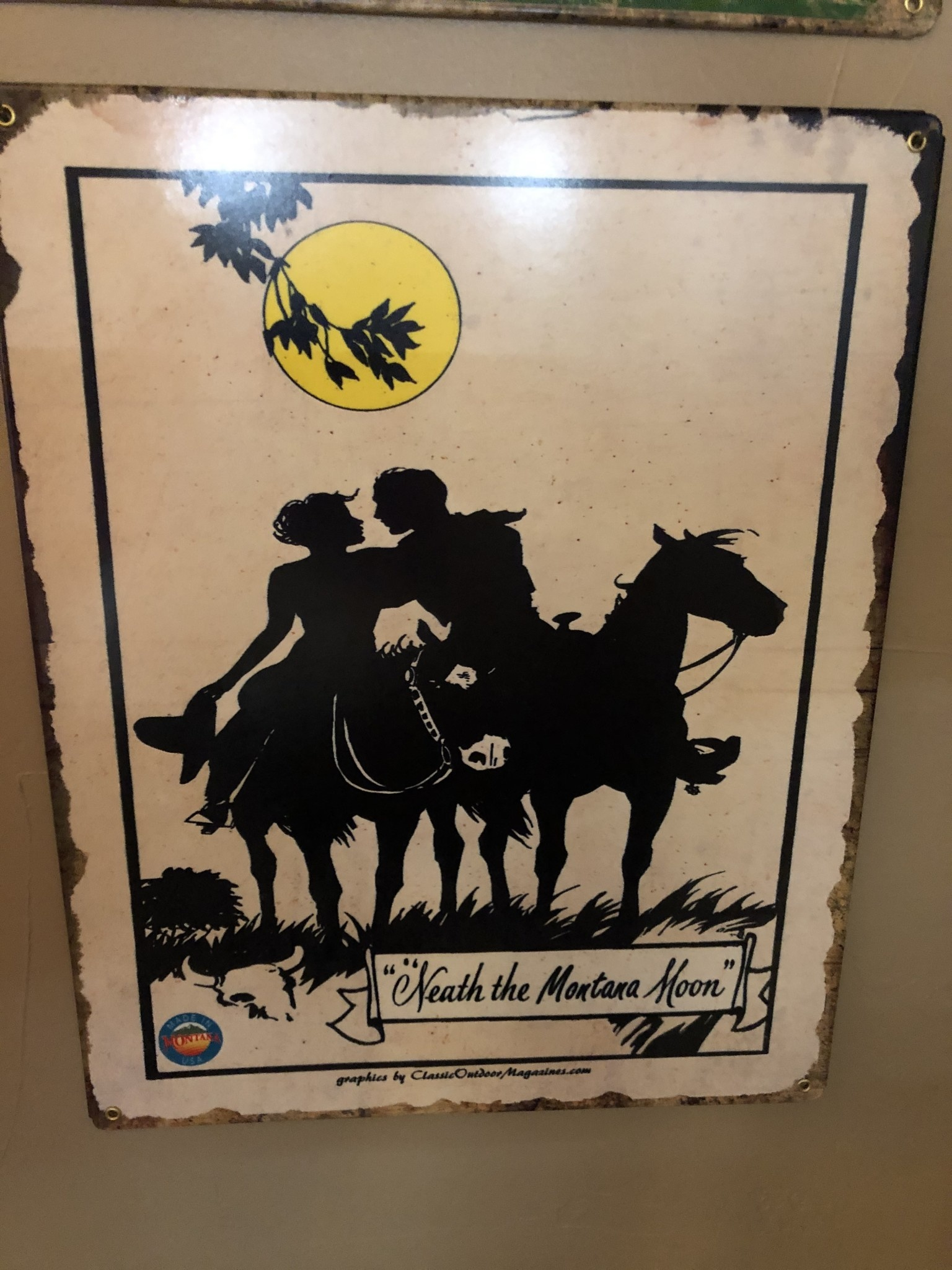 Classic Outdoor Magazines #21  Neath a Montana Moon 12x15 metal sign