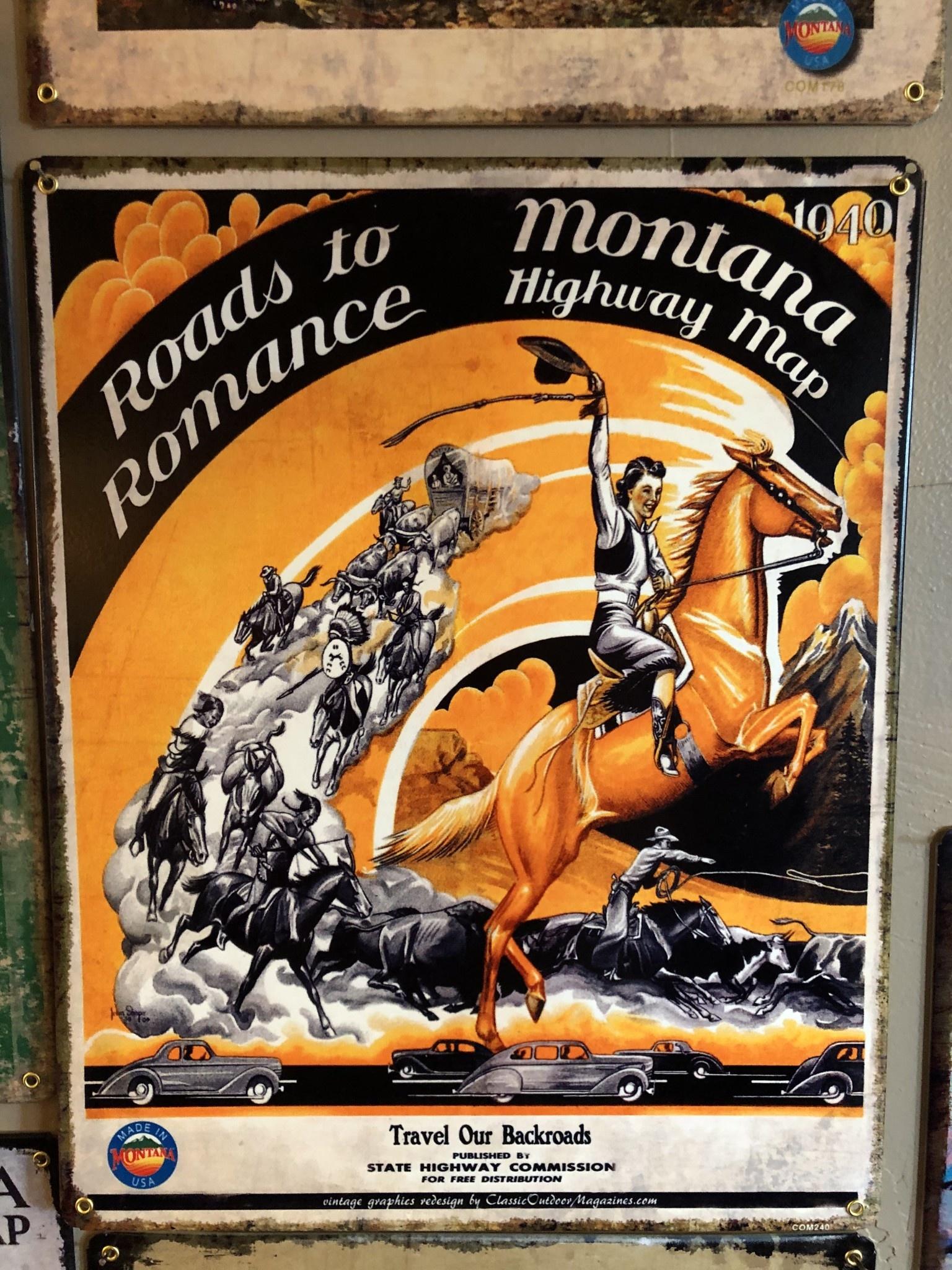 Classic Outdoor Magazines #7  1940 Montana Map 12x15 Metal Sign